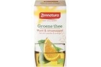 zonnatura groene thee munt en sinaasappel