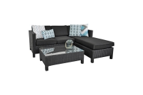 wicker 3 zits bank met lounge