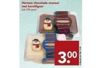 herman chocolade mousse met kerstfiguur