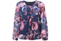 geplooide blouse met bloemenprint