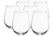 wijn en waterglas zonder voet 34 cl set van 6