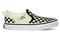 vans asher slip on zwart wit sneakers