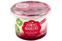 de zuivelmakers yoghurt aardbei framboos
