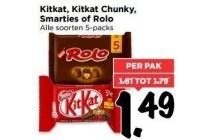 kitkat kitkat chunky smarties of rolo