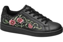 graceland zwarte sneaker bloemenpatroon