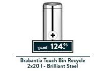 brabantia touch bin recycle 2x20 l brilliant steel