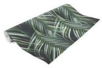 vliesbehang palmen blauw groen dessin 100558