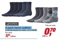 authentic 5 pack herensokken