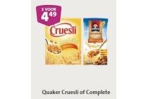 alle quaker cruesli of complete 2 pakken voor en euro 4 49