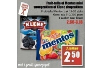 fruit tella of mentos mini snoepzakken of klene dropzakken