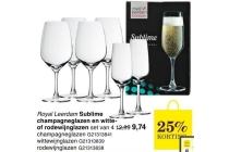 royal leerdam sublime champagneglazen en witte of rodewijnglazen