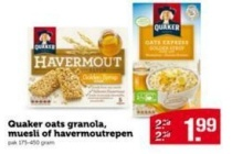 quaker oats granola muesli of havermoutrepen