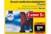droste melkchocoladeletter