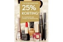 25 korting bij aankoop van 2 make up producten