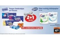 tempo zakdoekjes en tissues en edet vochtig toiletpapier