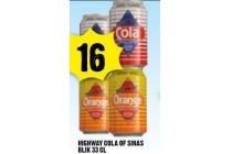 highway cola of sinas blik 33 cl