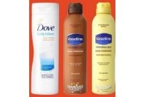 vaseline bodylotion en spray en amp go en dove bodylotion