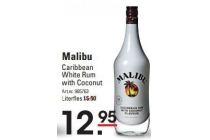 malibu caribbean white rum with coconut literfles en euro 12 95