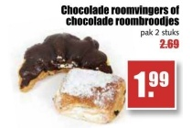 chocolade roomvingers of chocolade roombroodjes