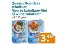 queens noordzee scholfilet noorse kabeljauwfilet of zalmfilet