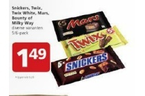 snickers twix twix white mars bounty of milky way