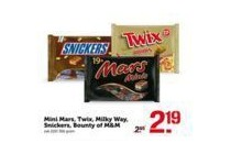 mini mars twix milky way snickers bounty of m en m