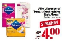 alle libresse of tena inlegkruisjes light long