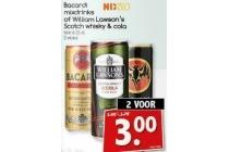bacardi mixdrinks of william lwason s scotch whisky en cola