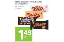 mars snickers twix bounty of milky way