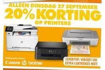 alleen dinsdag 27 september 20 korting op printers