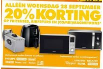 alleen woensdag 28 september 20 korting op friteuses air fryers en combi magnetron