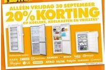 alleen vrijdag 30 september 20 korting op koelers koelkasten en vriezers
