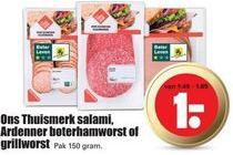 ons thuismerk salami ardenner boterhamworst of grillworst