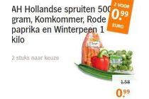 ah hollandse spruiten komkommer rode paprika en winterpeen