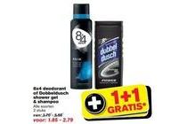 8x4 deodorant of dobbeldusch shower gel en shampoo