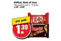 alle pakken kitkat rolo of lion