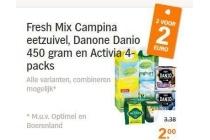 fresh mix campina eetzuivel danone danio 450 gram en activia 4 packs