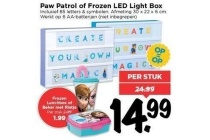 paw patrol of frozen led light box