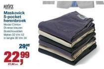 maskovick 5 pocket herenbroek