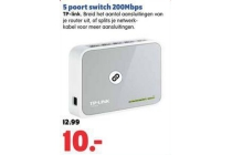 5 poort switch 200mbps