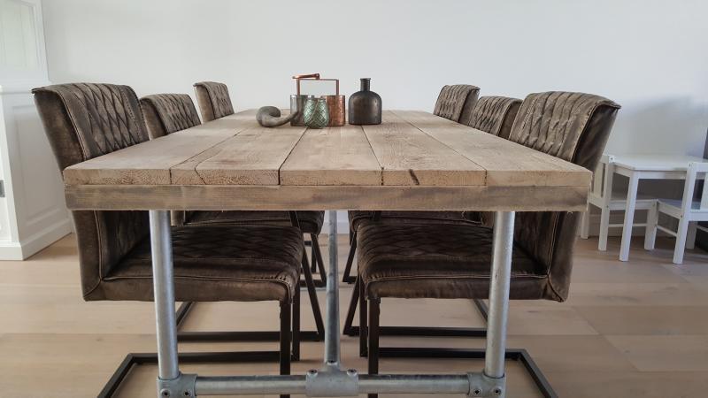 Tuin tafel hout staal hoge tafel bartafel industrieel staal hout