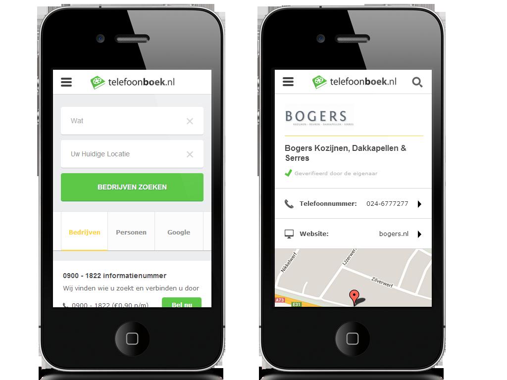 Vernieuwde mobiele website Telefoonboek.nl