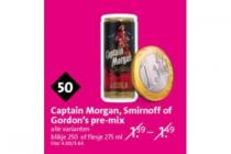 captain morgan smirnoff of gordons pre mix