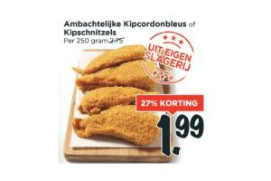 ambachtelijke kipcordonbleus of kipschnitzels