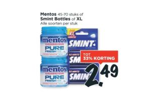 mentos of smint bottles of xl