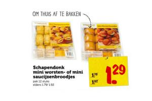 schapendonk mini worstenbroodjes of mini saucijzenbroodjes pak 12 stuks
