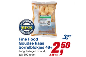 fine food goudse kaas borrelblokjes 48plus