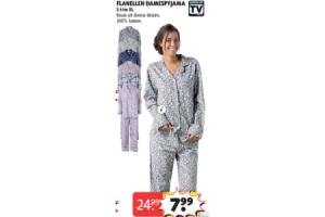 flanellen damespyjama s tm xl