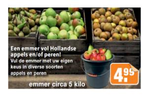 een emmer vol hollandse appels enof peren