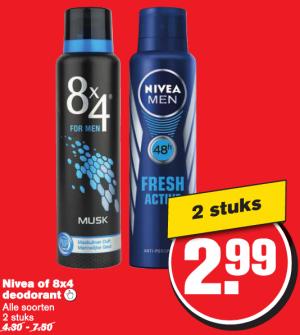 nivea of 8x4 deodorant